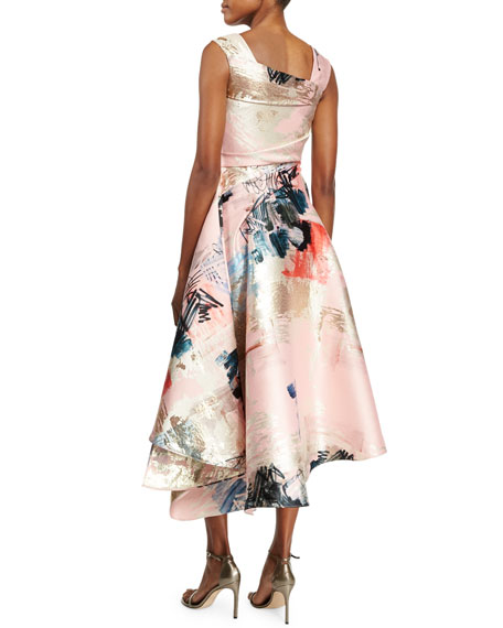 Sleeveless Graffiti-Print Draped Dress, Pink