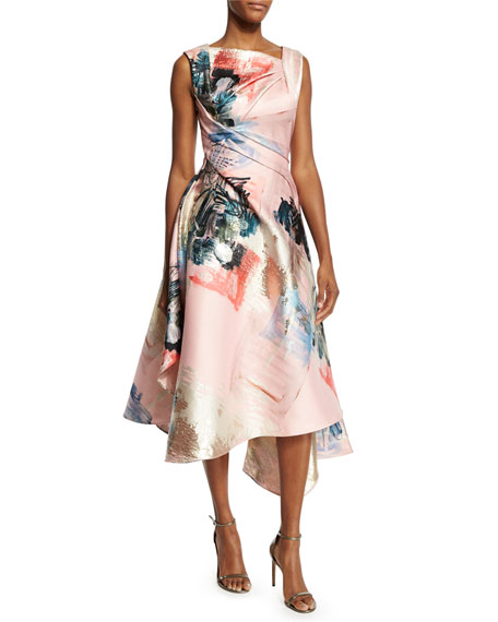 Rubin Singer Sleeveless Graffiti-Print Draped Dress, Pink