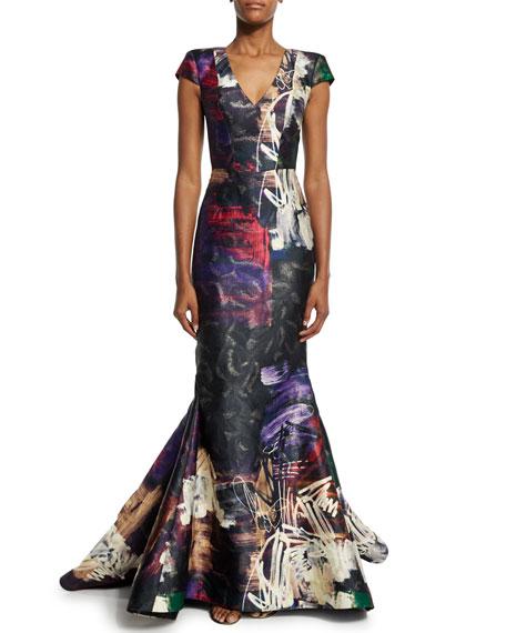 Rubin Singer Cap-Sleeve Graffiti-Print Trumpet Gown, Black/Multi