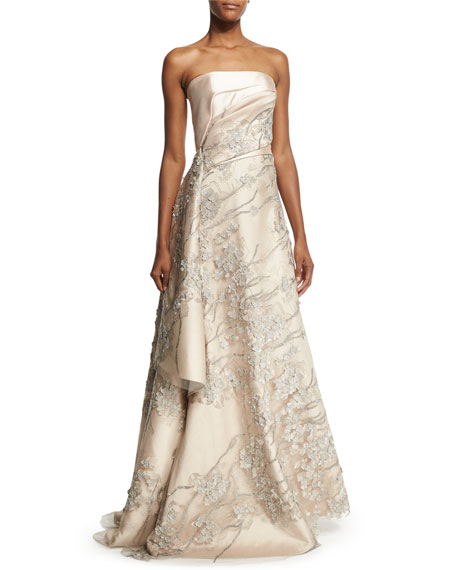 Rubin Singer Strapless Embroidered Applique Gown, Champagne