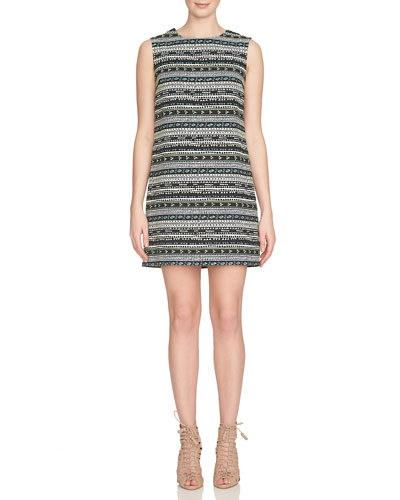 Sleeveless Geometric Jacquard Shift Dress