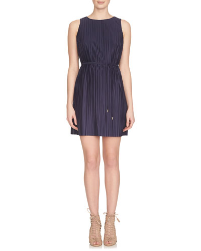 Sleeveless Accordion-Pleated Shift Dress