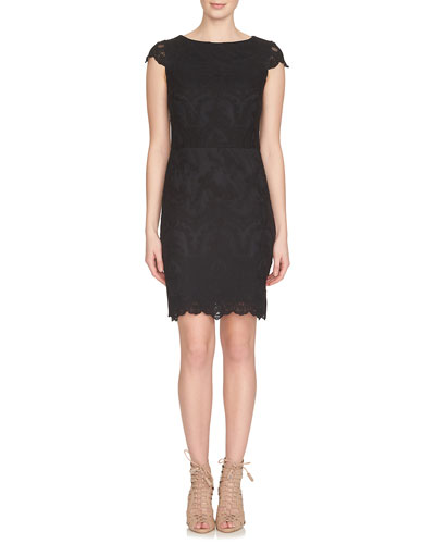Cap-Sleeve Lace Sheath Dress