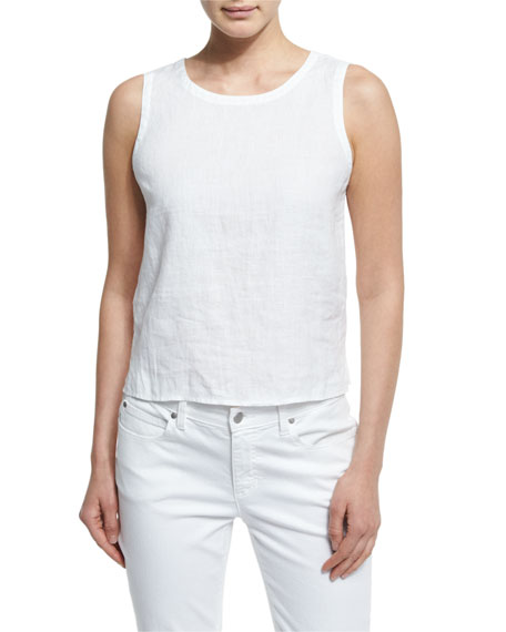 Eileen Fisher Organic Linen Round-Neck Shell, White