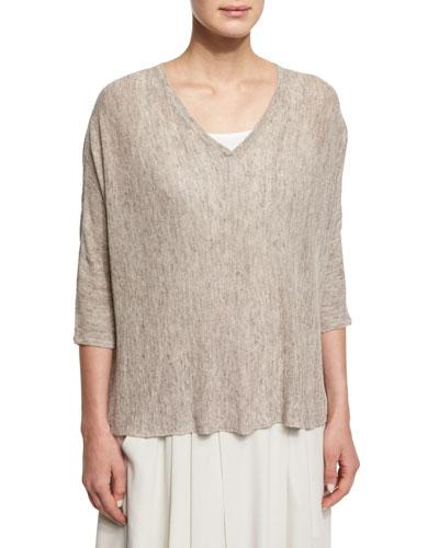 3/4-Sleeve Boxy Linen Melange Top, Plus Size