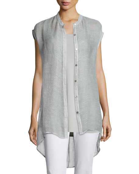 Eileen Fisher Sleeveless Button-Front Mesh Shirt, Silver, Plus
