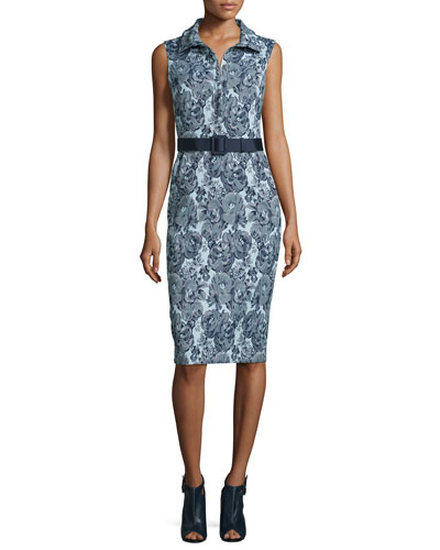Floral-Print Collared Dress W/Belt, Navy/Multi