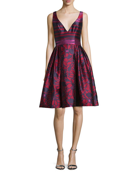 Badgley Mischka Deep V-Neck Fit-and-Flare Striped Dress, Cranberry