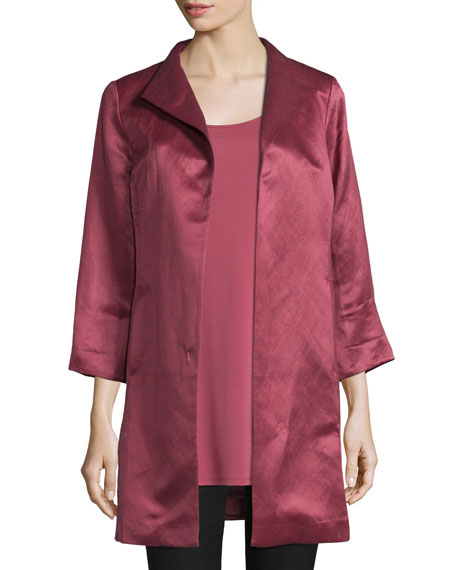 Eileen Fisher High-Collar Satin Coat, Rosewood, Petite
