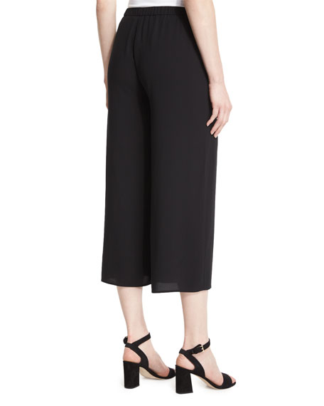 Wide-Leg Silk Georgette Cropped Pants, Plus Size