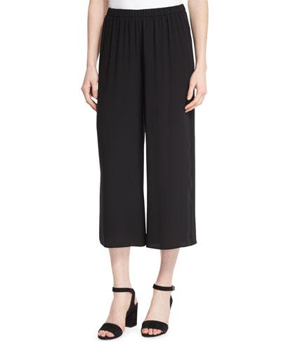 Wide-Leg Silk Georgette Cropped Pants, Women's