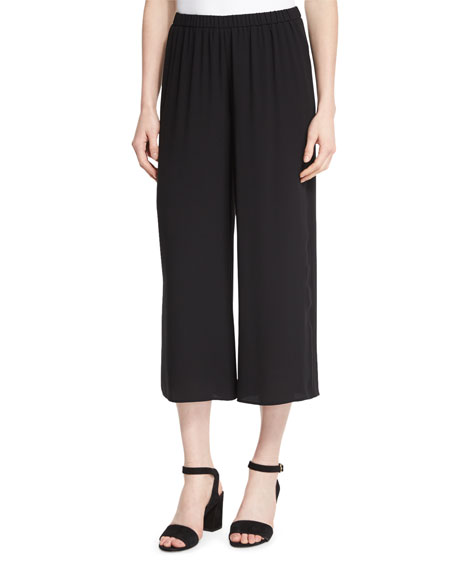 Eileen Fisher Wide-Leg Silk Georgette Cropped Pants, Plus