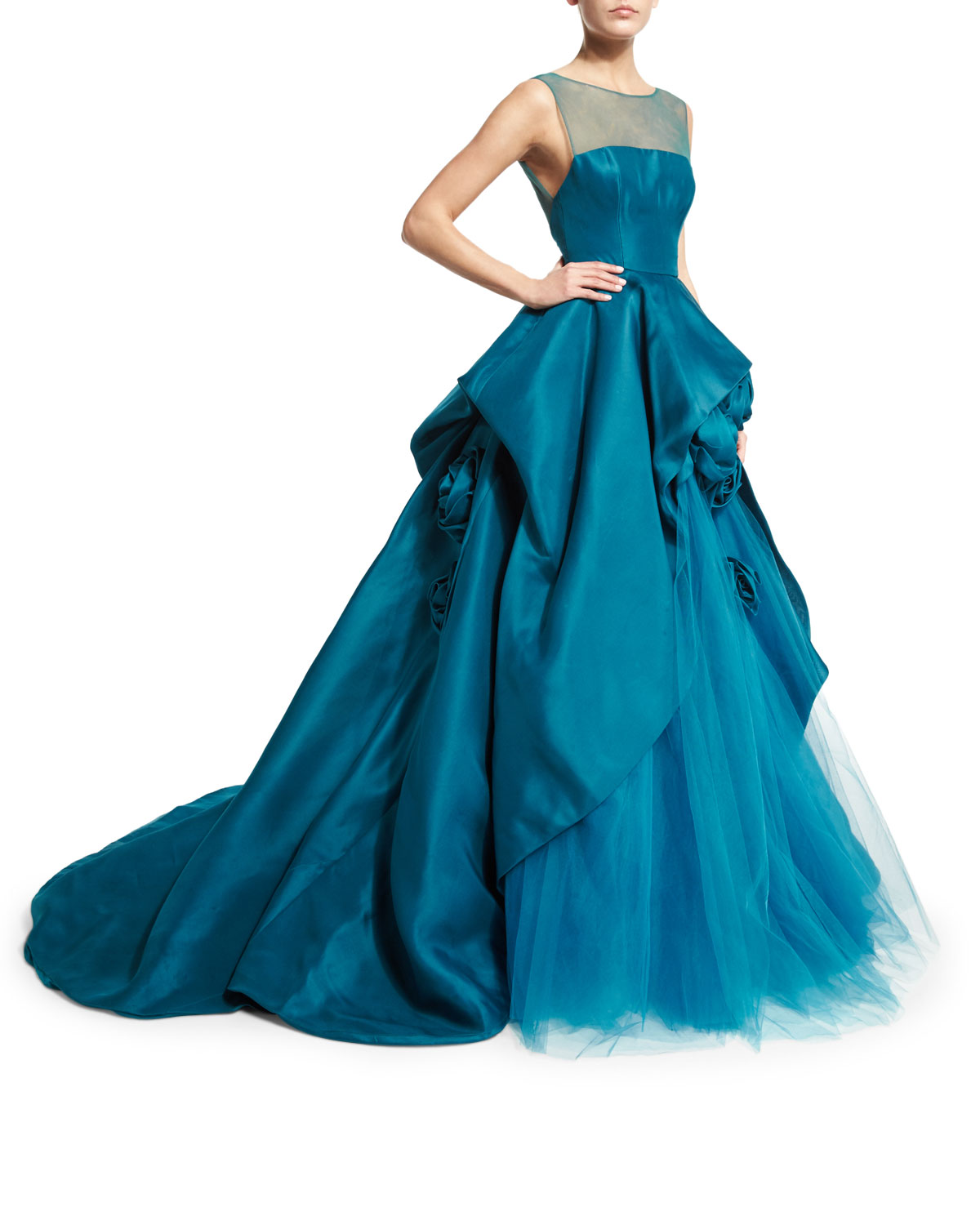 Monique Lhuillier Illusion Strapless Ball Gown W/Rosettes, Teal ...