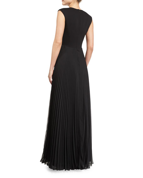 Cap-Sleeve V-Neck Plisse Gown