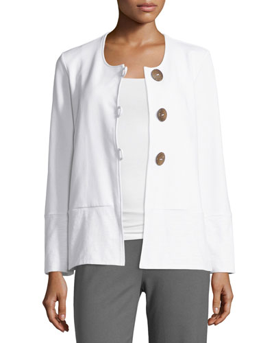 Stella Loop-Button Boxy Jacket, White