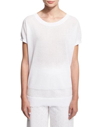 Short-Sleeve Pullover Top W/ Ribbed Hem