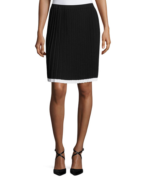 MICHAEL Michael Kors Contrast-Tipped Pleated Sweater Skirt, Black