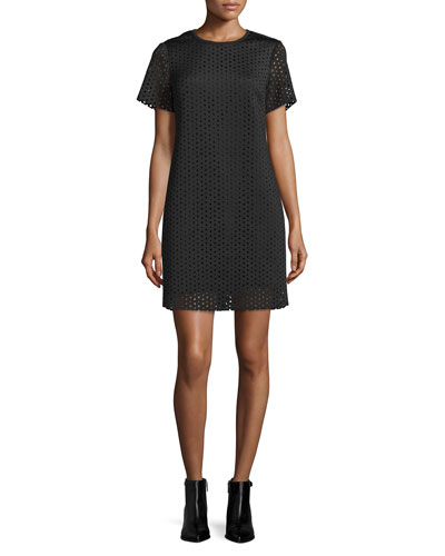 Laser-Cut Neoprene T-Shirt Dress, Black