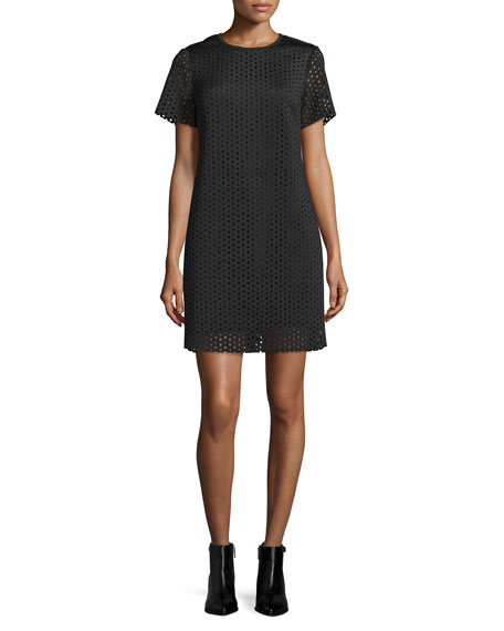 MICHAEL Michael Kors Laser-Cut Neoprene T-Shirt Dress, Black