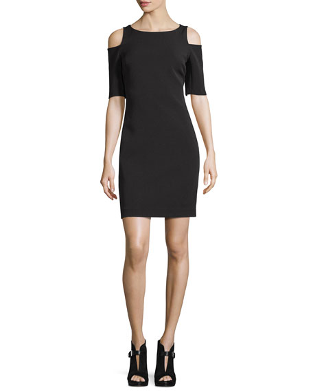 MICHAEL Michael KorsStructured Bateau-Neck Cold-Shoulder Dress, Black