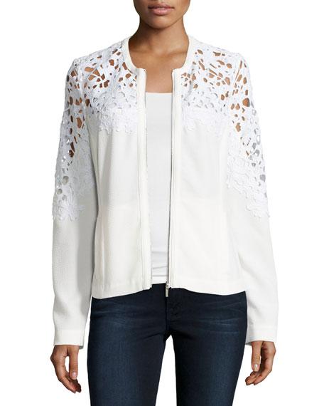 Bagatelle Crochet Lace-Inset Bomber Jacket, White