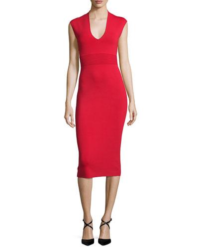 Cap-Sleeve V-Neck Midi Sheath Dress