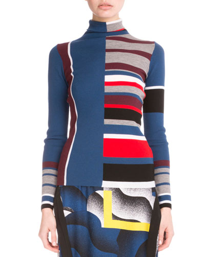 Colorblock Striped Wool Top, Burgundy/Multicolor