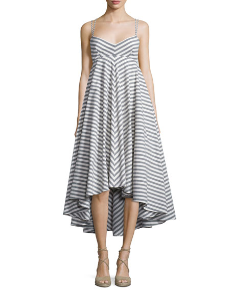 MillyBreton Striped High-Low Dress, Black