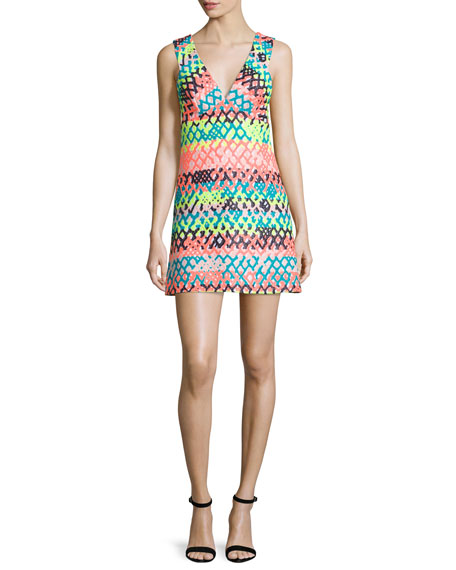Milly Bridgette Sleeveless V-Neck Mini Dress, Multi Colors