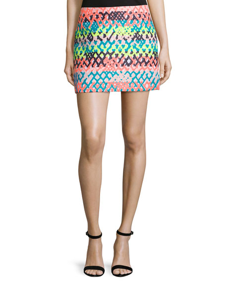 Milly Couture Neon Mini Skirt, Multi Colors