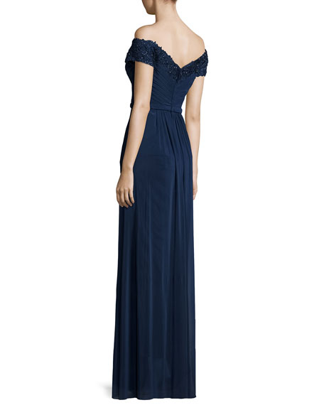 Beaded Off-the-Shoulder Gown, Navy