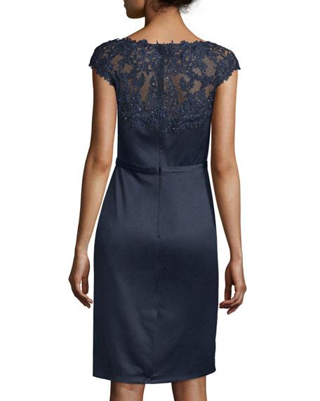 Beaded Cap-Sleeve Satin Cocktail Dress