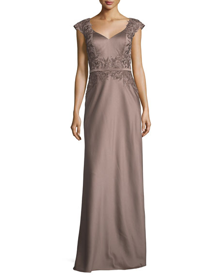 La Femme Embellished Faille Cap-Sleeve Gown, Cocoa