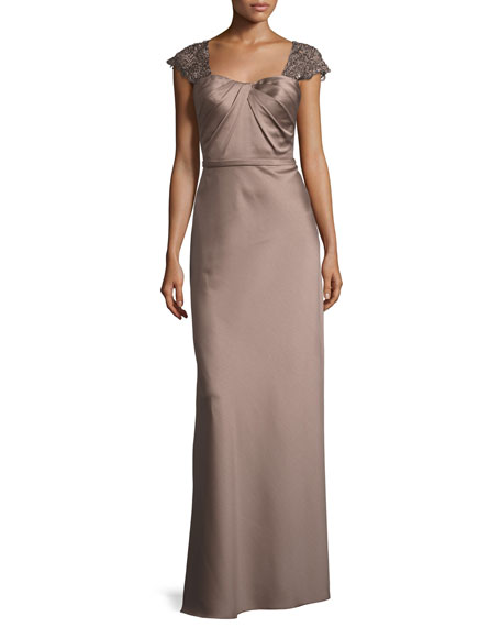 La Femme Embellished Cap-Sleeve Satin Gown, Navy