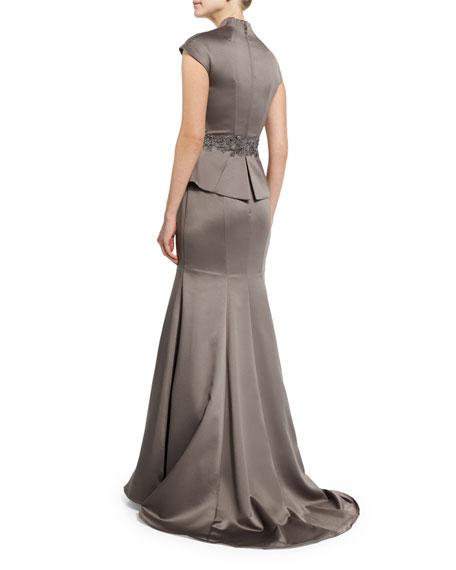 Cap-Sleeve Satin Peplum Gown, Pewter