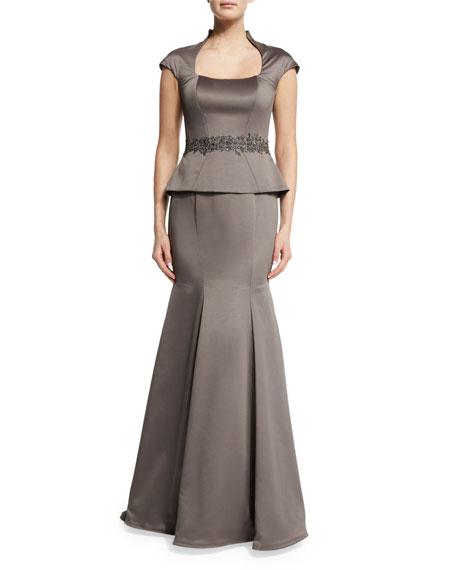 La Femme Cap-Sleeve Satin Peplum Gown, Pewter