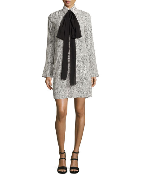 Long-Sleeve Scale-Print Tie-Neck Shirtdress, Cream