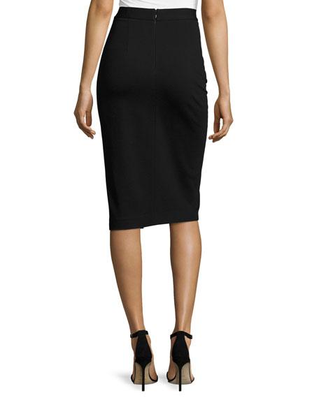 Asymmetric Faux-Wrap Skirt, Black
