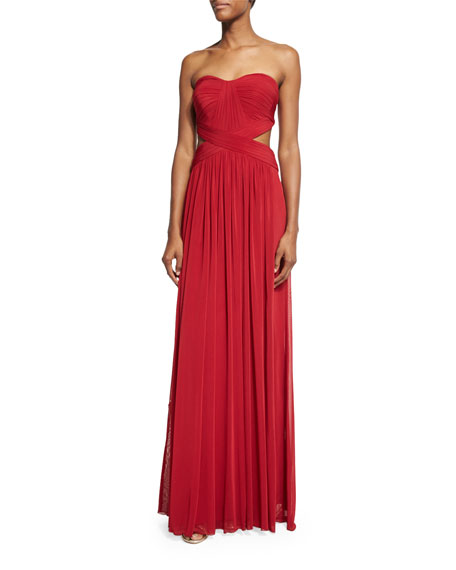 La FemmeStrapless Pleated Cutout Gown, Deep Red