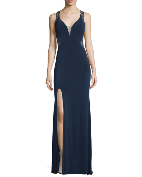 La Femme Sleeveless V-Neck Lace Illusion Gown, Navy
