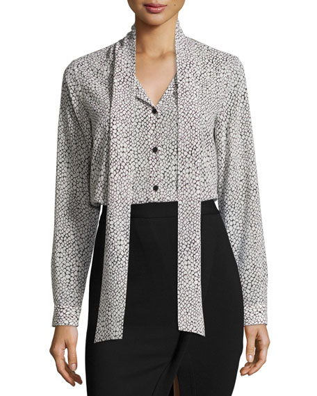 MICHAEL Michael Kors Tie-Neck Graphic Scale-Print Silk Blouse