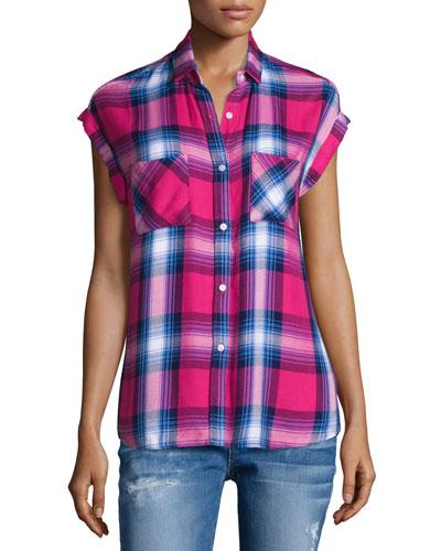Britt Plaid Cap-Sleeve Shirt