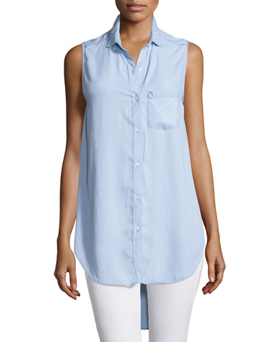 Jaime Sleeveless Button-Front Top, Light Vintage Wash