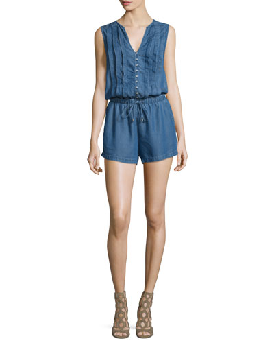 Sleeveless Button-Front Romper, Medium Wash