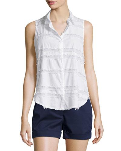 Sleeveless Fringe-Striped Top, White
