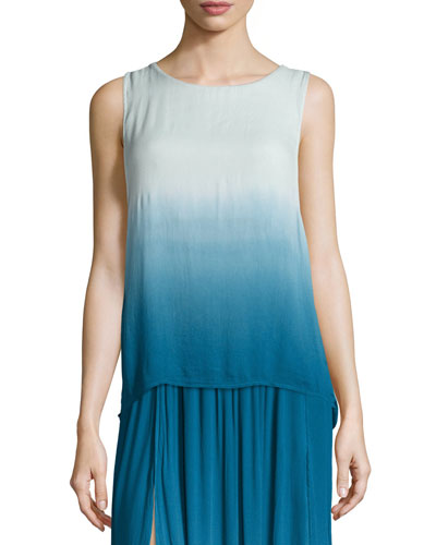 Cheyenne Ombre Cutaway-Back Tank Top, Pacific Blue Ombre