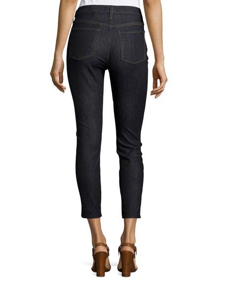 High-Waist Skinny Cropped Jeans, Dark Blue Denim