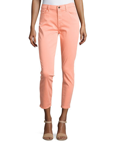 Sateen Skinny Cropped Jeans, Peach