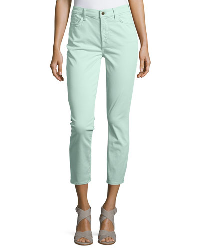 Sateen Skinny Cropped Jeans, Spearmint