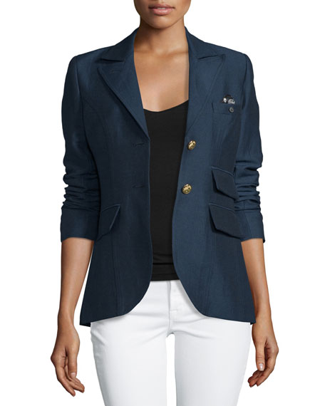 SmytheDandy Two-Button Blazer w/Leather Elbow Patches, Navy